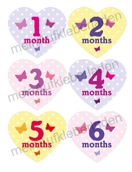 Baby Meilensteinaufkleber - Herzform 1-12 Monat