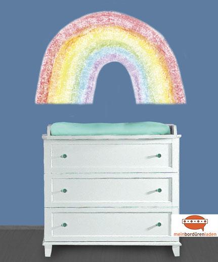 Wandtattoo großer Regenbogen nach Pastellkreide-Art