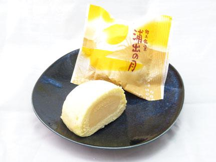 カスタードクリームをスポンジで包んだ、まるで満月のような黄色くて丸い御菓子です。