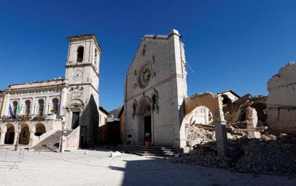 Basilika des Hl. Benedikt in Norcia (Italien) nach dem Erdbeben
