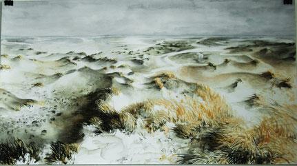 """""""Kelpies Kniepsand"""" rechts, Aquarell und Stifte, 50 x 90 cm, 2010"""