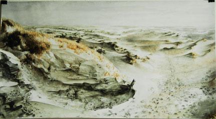 """""""Kelpies Kniepsand"""" links, Aquarell und Stifte, 50 x 90 cm, 2010"""