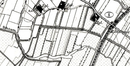 Landesaufnahme von 1900: Zwei Brücken führen über die Ochtum von den beiden Arster Ziegeleien im Brüggefeld zum Lehmabbaugebiet südlich der Ochtum.