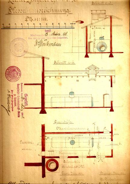 Im Lageplan von 1908 ist das neue Maschinenhaus eingezeichnet 228