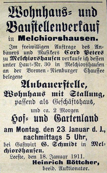 Syker Zeitung v. 21.01.1911