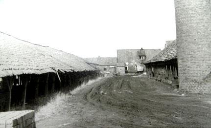 Trockenschuppen (links) und Schornstein (rechts). Hinter dem Schornstein rechts die Ringofen-Halle, im Hintergrund wieder das Büro.