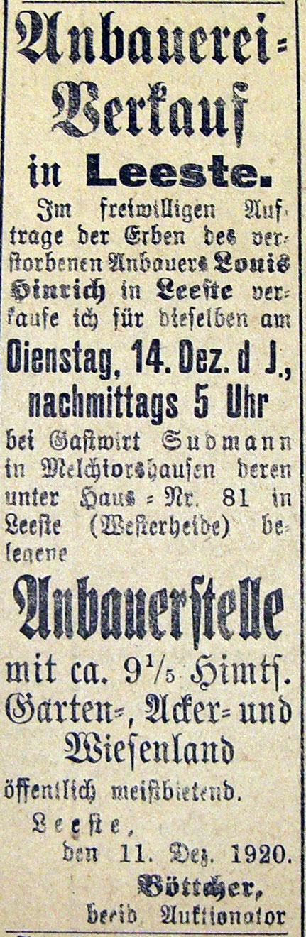 12.12.1920 Verkauf der Anbauerstelle beim Gasthaus Sudmann