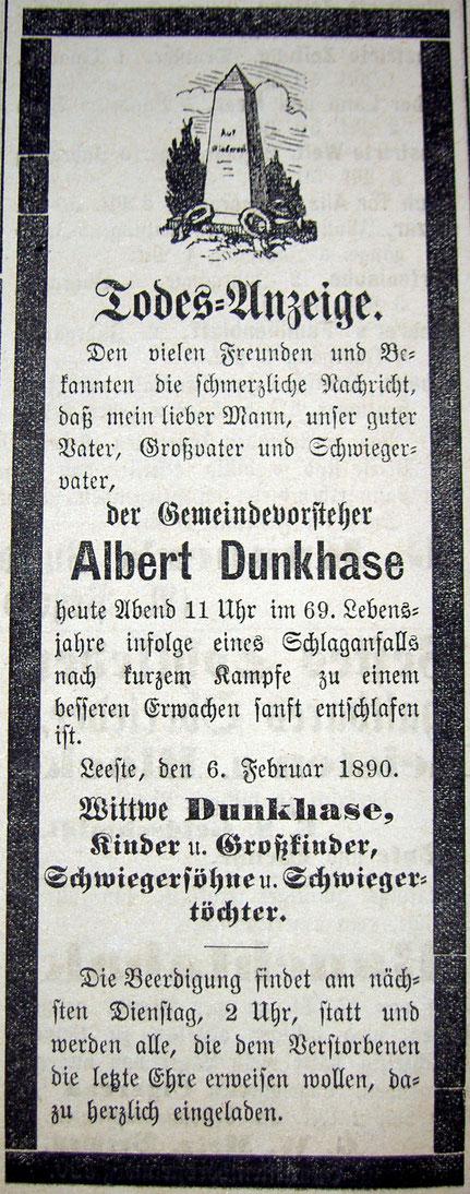 1890 stirbt Albert sen. Carl Dunkhase. Sein Sohn erbt den Hof/Syker Zeitung v. 8.2.1890