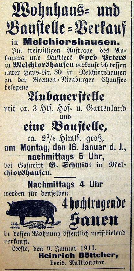 Syker Zeitung v. 12.01.1911
