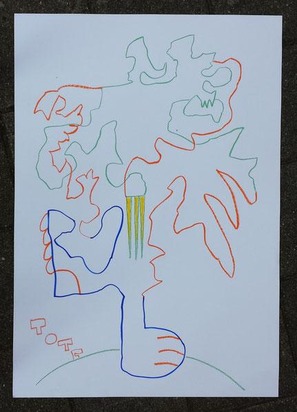 Totem 18 pastel on paper 100x70 cm