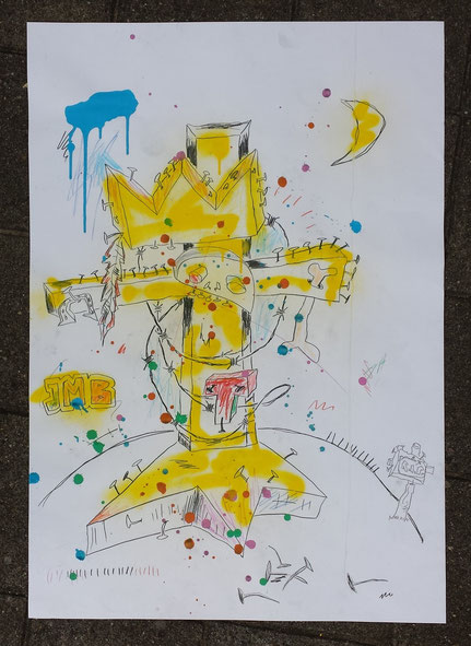 Totem for Basquiat mixed-media on paper 100x70 cm