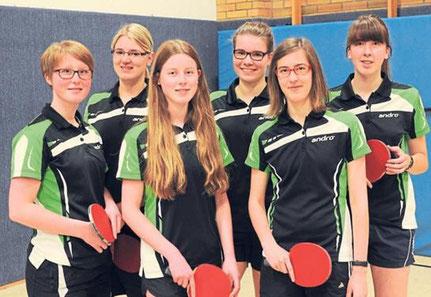(von links) Anika Rengel, Kirsten Oppermann, Linda Rengel, Loisa Dohmann, Johanna Sökefeld, Josefine Sökefeld