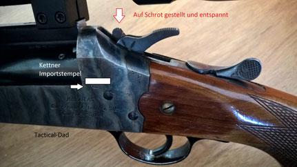 Der Hammer der Atlas Bockbüchsflinte ist hier auf den unteren 20/76 Schrotlauf gestellt.