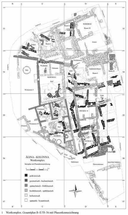Steinplan des Westkomplexes nach Felten et al. 2011, ÖJh 80, 48.