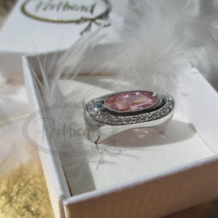 Finger Schmuck silberfarben Zirkonia rosa