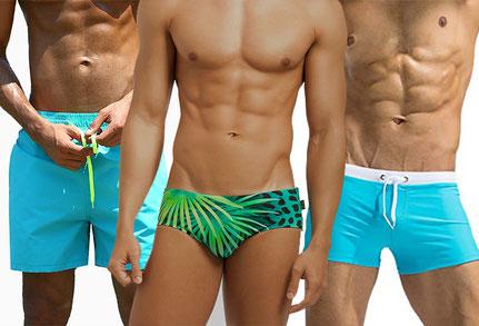 Mannen in badkleding. Boxershorts, zwemboxer en zwemslip