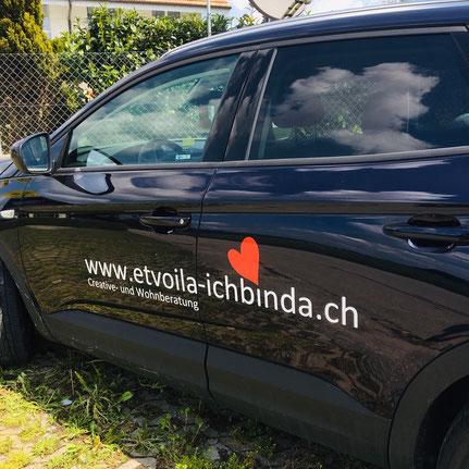 Druckatelier46 Mülchi-Bern - Autobeschriftung Et voilà - ich bin da!