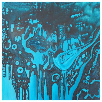 KeimZeit, Acrylfarbe, Spachtelmasse auf Leinwand, 100x100cm, 2013
