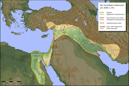 Der fruchtbare Halbmond um 2000 v. Chr. - By Captain Blood via Wikimedia Commons