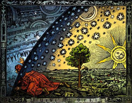 Holzschnitt aus Camille Flammarion: L'Atmosphere - Météorologie Populaire. Paris 1888. Kolorierung : Heikenwaelder Hugo, Wien 1998