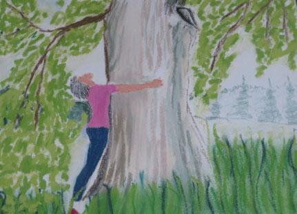 Pastellkreide Baum