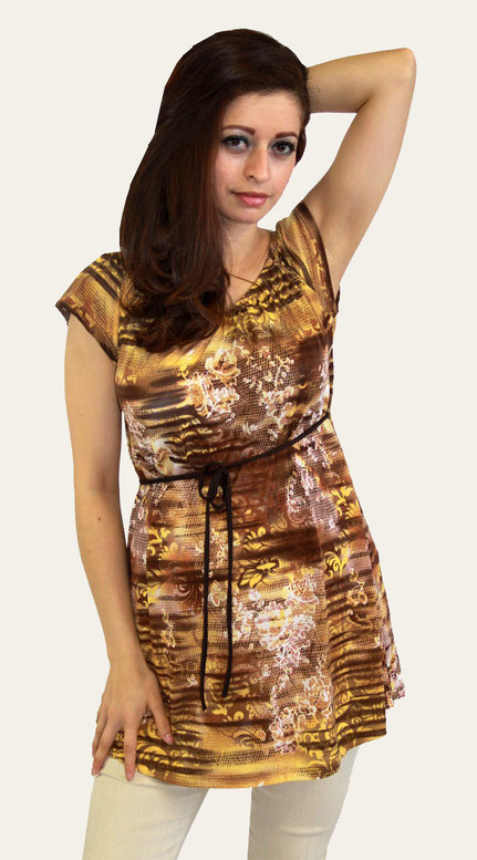 short sleeve maternity top brown, yellow