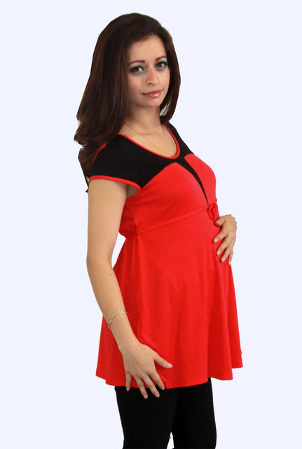 short sleeve maternity top red, black,
