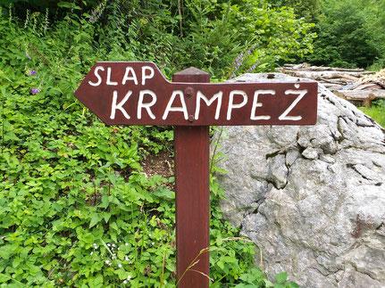 Schild Wasserfall Krampez
