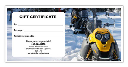 Gift Certificat - Snowmobile Ride