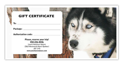 Gift Certificat - Dogsled Ride