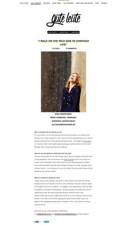 Gute Leute Magazine Interview Online-Magazin Hamburg Alltagsabenteuer Alltagsabenteurer