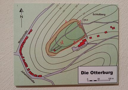 Lageplan der ehemaligen Otterburg, Plan ist aus Heimatmuseum Otterberg