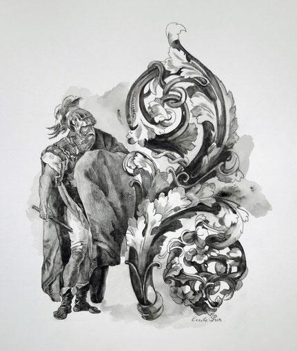 Héros n° 2 - Graphite aquarelle/papier - 26 x 21