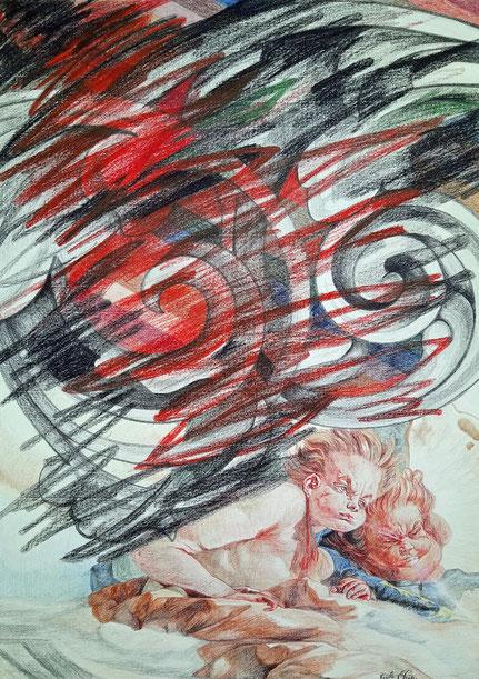 N° 9 Crayon de couleur/papier 70 x 50