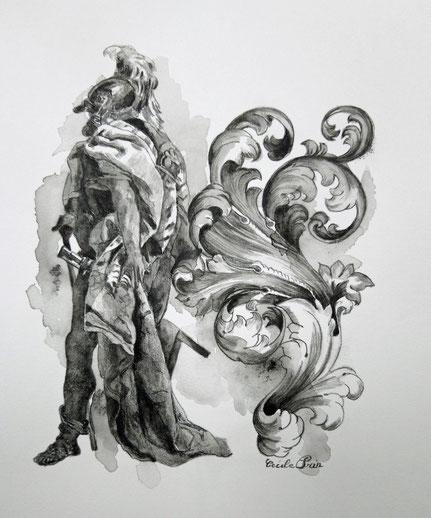 Héros n° 1 - Graphite aquarelle/papier - 25 x 20