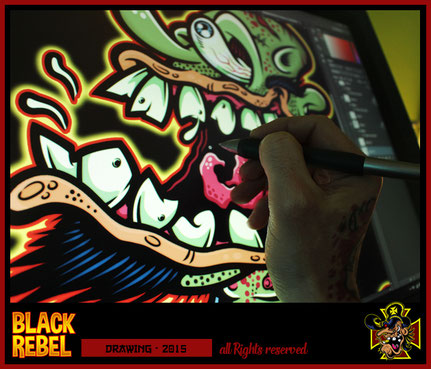 Black Rebel Art Kustom Kulture Wacom Cintiq Weirdo Art