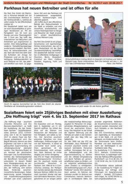 Zeitungsartikel Übernahme Parkhaus in Crimmitschau durch Park One