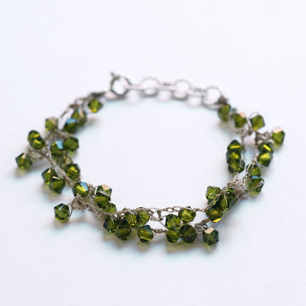 gehaakte swarovski armband olijf groen