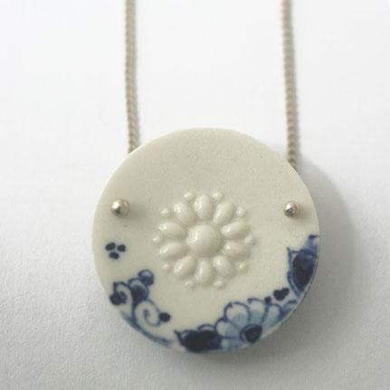 delfts blauw sieraad, porseleinen ketting delfts blauw, porseleinen ketting, porseleinen sieraden, handgemaakte sieraden