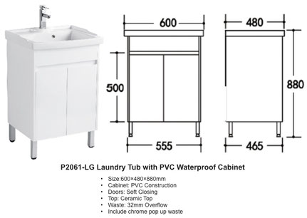 P2061-LG Ceramic Laundry Tub with PVC Waterproof Cabinet