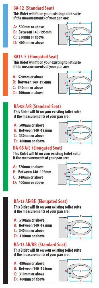 Bidet Seat Measurement Guide