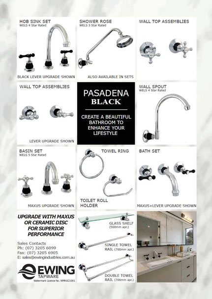 Pasadena Black 3 piece tapware and bathroom accessories