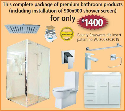 Package of premium bathroom products for your bathroom renovation