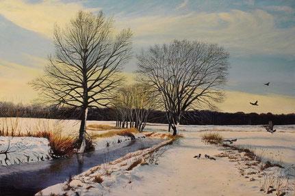 Winter am Fließ 40 x 60  Preis 200 €