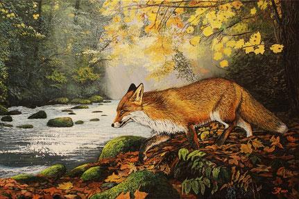 Fuchs im Herbstwald 40 x 60    Preis 200 €