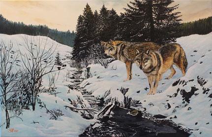 Winterwölfe (1) 40 x 60   Preis 200 €