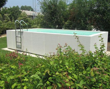 Vente piscine hors sol acier sans permis de construire sans impot sans dalle béton rectangulaire Alès près de Uzès