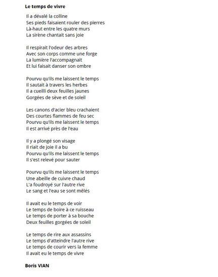 Boris Vian. L'évadé ou Le temps de vivre. Poème écrit en 1954.