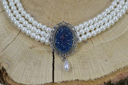 Kropfkette Druzy Stone glitzernd Perlen