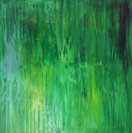 """""""Grün"""", Acryl & Kunstharz auf Leinwand, 100x100 cm"""